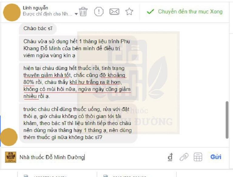 Phản hồi của người bênh qua hệ thống tin nhắn của nhà thuốc Đỗ Minh Đường
