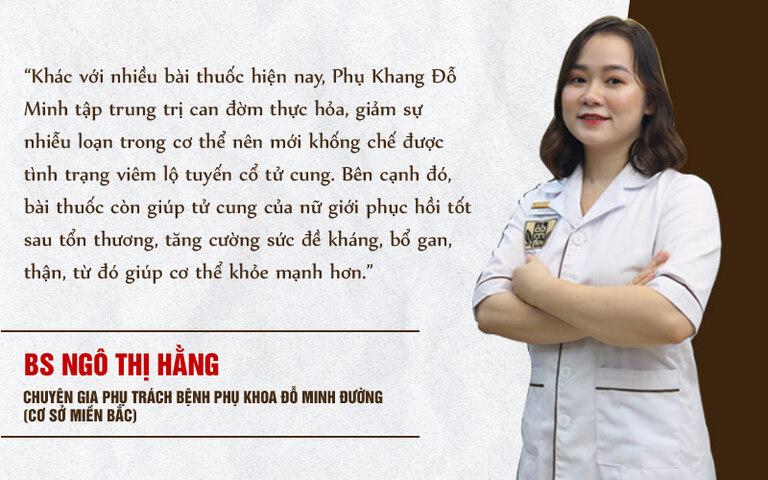 BS Ngô Thị Hằng lý giải cơ chế điều trị của bài thuốc Phụ Khang Đỗ Minh
